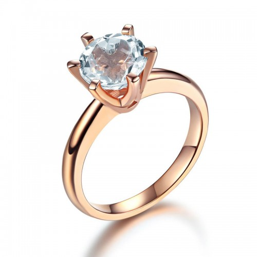 14K Rose Gold Bridal Wedding Engagement Solitaire Ring 2 Ct Topaz  6 Claws