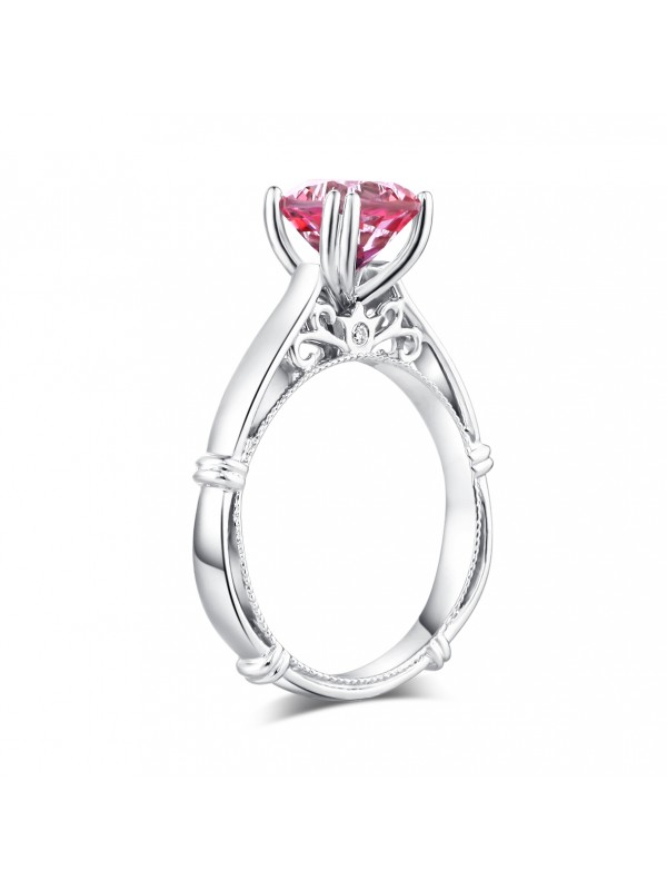 14K White Gold Wedding Engagement Ring 2 Ct Pink Topaz 0.02 Ct Natural Diamonds