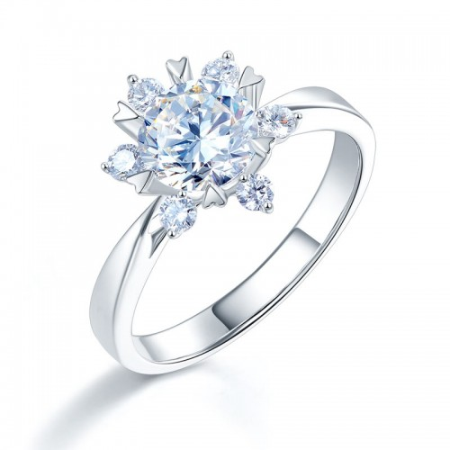 14K White Gold 1 Carat Forever One Moissanite Diamond Flower Wedding Engagement Ring
