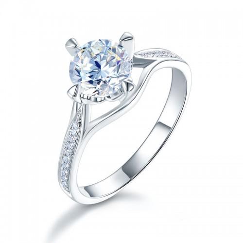 14K White Gold 1 Carat Forever One Moissanite Diamond Wedding Engagement Ring