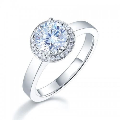 14K White Gold 1 Carat Forever One Moissanite Diamond Halo Wedding Engagement Ring