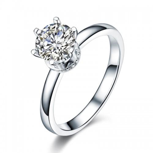 14K White Gold 1 Carat Forever One Moissanite Diamond 6 Claws Wedding Engagement Ring