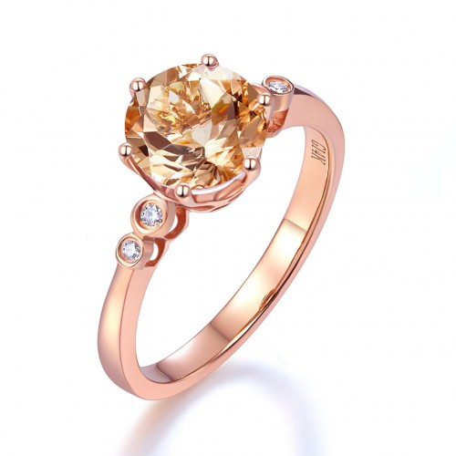 14K Rose Gold Wedding Engagement Ring Peach Morganite 0.038 Ct Natural Diamonds