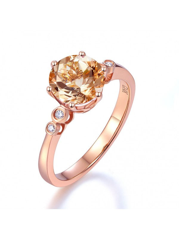 14K Rose Gold Wedding Engagement Ring Peach Morganite 0.038 Ct Natural Diamonds
