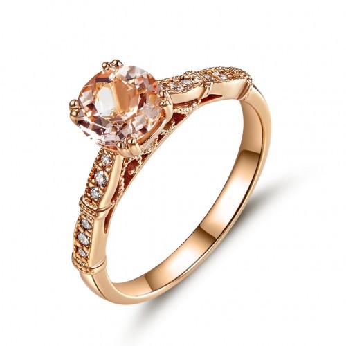 Vintage Style 14K Rose Gold Engagement Ring Peach Morganite Natural Diamonds