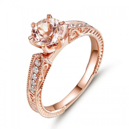 14K Rose Gold Vintage Wedding Engagement Ring Peach Morganite Natural Diamond