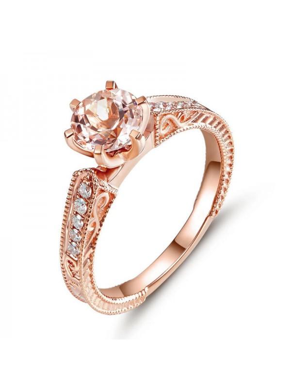 14K Rose Gold Vintage Wedding Engagement Ring Peach Morganite Natural Diamond