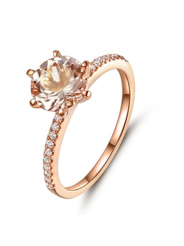 14K Rose Gold Wedding Engagement Ring Peach Morganite Natural Diamond