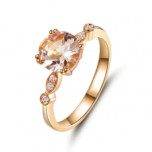 14K Rose Gold Wedding Engagement Ring Peach Morganite Natural Diamonds