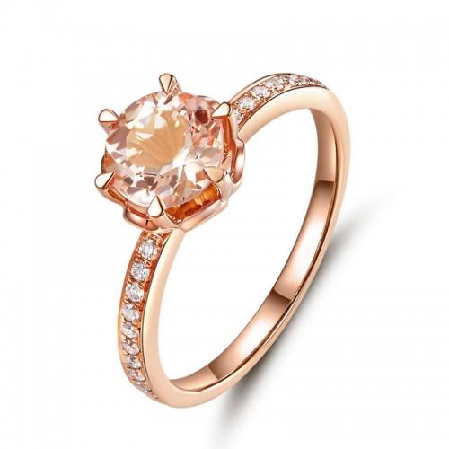 14K Rose Gold Wedding Engagement Ring Peach Morganite Natural Diamonds