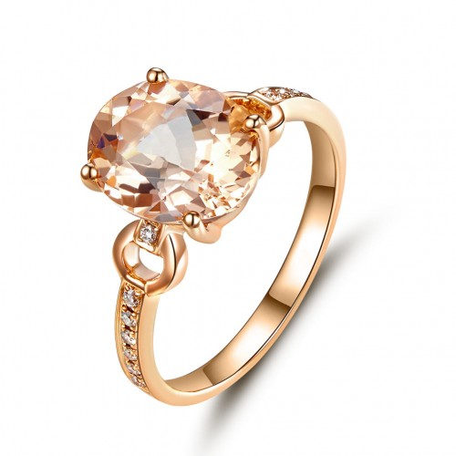 14K White Gold Wedding Engagement 3.5 Ct Oval Peach Morganite Ring 0.097 Ct Natural Diamond