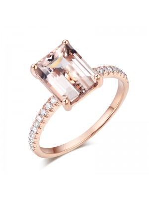 14K Rose Gold Wedding Engagement Emerald Cut 2.8 Ct Peach Morganite Ring  0.16 Ct Natural Diamonds