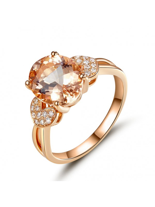 14K Rose Gold Wedding Engagement Ring 3.5 Ct Oval Peach Morganite & Natural Diamond