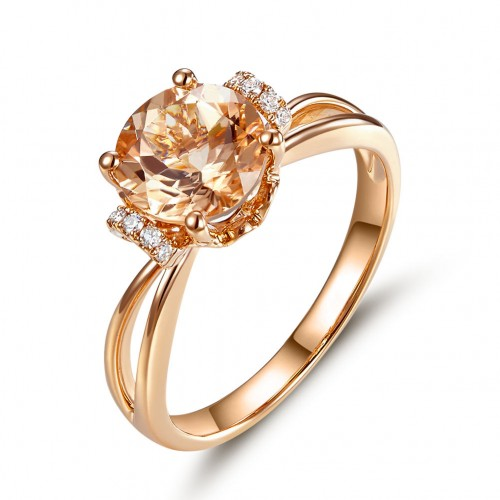 14K Rose Gold Wedding Promise Ring Floral Peach Morganite Natural Diamond