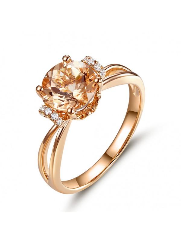 14K Rose Gold Wedding Promise Ring Floral Peach Morganite Natural Diamond