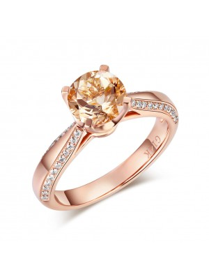 14K Rose Gold Bridal Wedding Engagement Ring 1.2 Ct Peach Morganite 0.2 Ct Natural Diamond