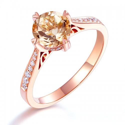 14K Rose Gold Vintage Wedding Engagement Ring 1.2 Ct Peach Morganite & Natural Diamonds