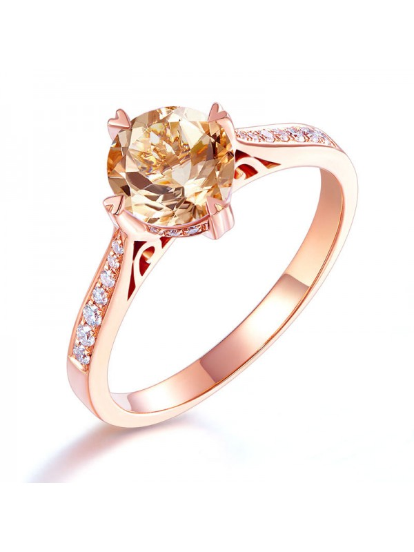 14K Rose Gold Vintage Wedding Engagement Ring 1.2 Ct Peach Morganite & Natural Diamonds
