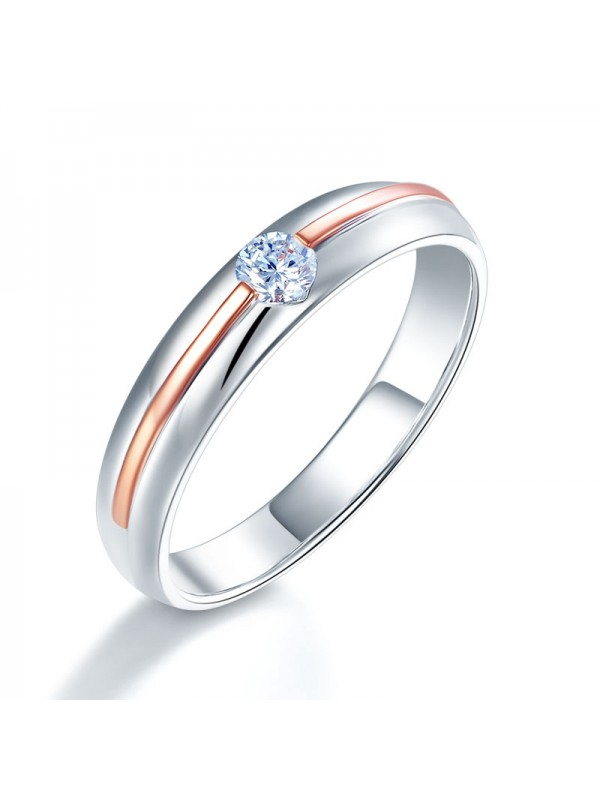 Men 14K White Gold Rose Gold 2 Color Wedding Band Men Ring Diamond