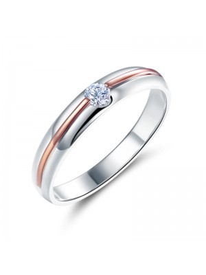 Women 14K White Gold Rose Gold 2 Color Wedding Band Women Ring Diamond