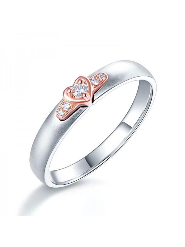 Women 14K White Gold Rose Gold 2 Color Wedding Band Women Ring Diamond