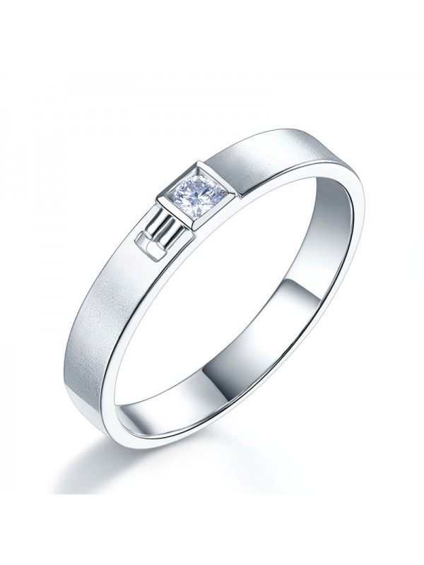 Men 14K White Gold Wedding Band Men Ring Natural Diamond