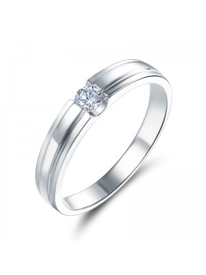 Women 14K White Gold Wedding Band Women Ring Natural Diamond