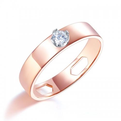 Women 14K Rose Gold Wedding Band Women Ring Natural Diamond