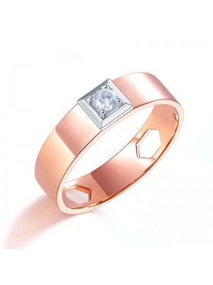 Men 14K Rose Gold Wedding Band Men Ring Natural Diamond